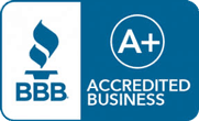 Blue BBB badge that says A+ Accredited Business