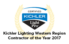 Badge that says Kichler Lighting Western Region Contractor of the year 2017